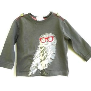 Hanna Andersson Tee Gray Owl Red Glasses 80